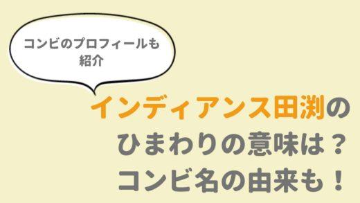 インディアンス【お笑い芸人】ひまわりの花と田渕の関係は?コンビ名の由来も!
